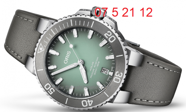 Grey leather strap for Aquis 7732
